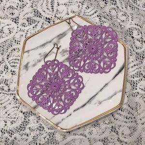 Lightweight metal lavender earrings